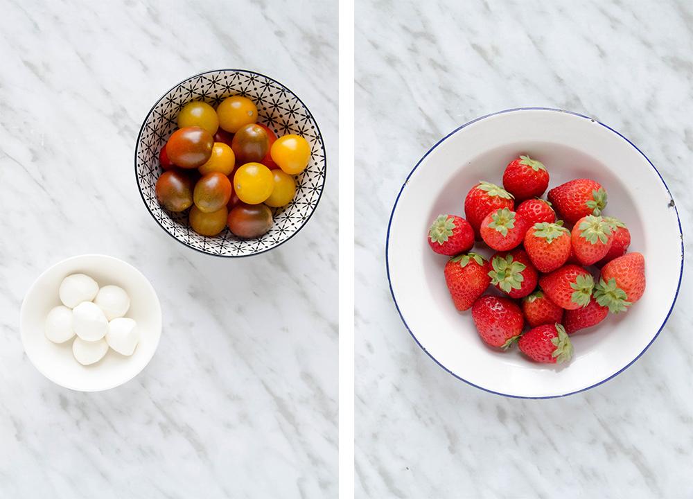 ensalada caprese y fresas